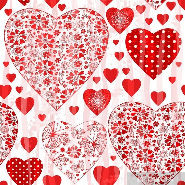 Vinyl-Fototapete Grunge nahtlose Valentine Muster - Internationale Feste