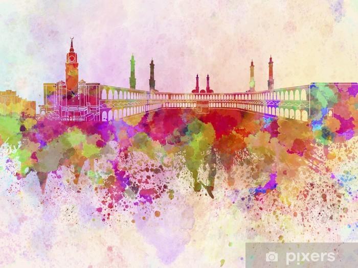Pixerstick Sticker Mekka skyline in aquarel achtergrond - Thema's