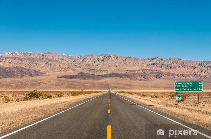 Death Valley, California - Empty infinite Road in the Desert Vinyl Wall Mural - Desert