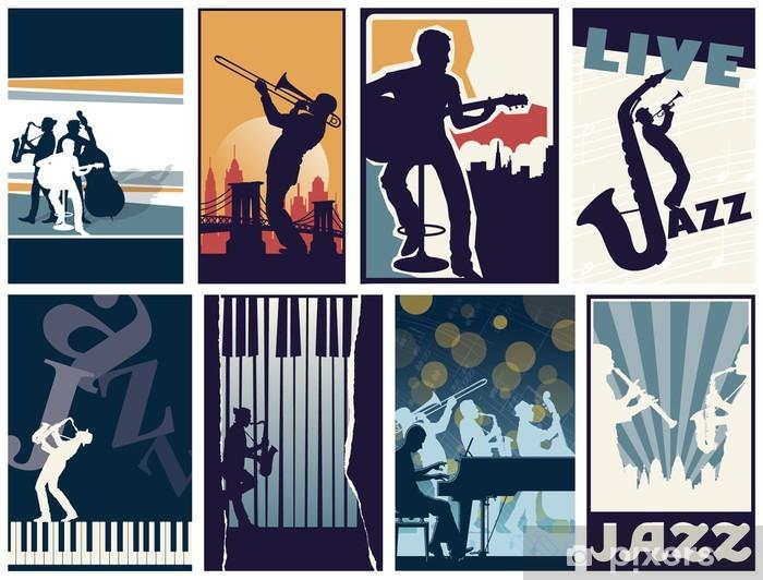 Vinyl Fotobehang Set van 8 verschillende vector jazz posters - Bestemmingen