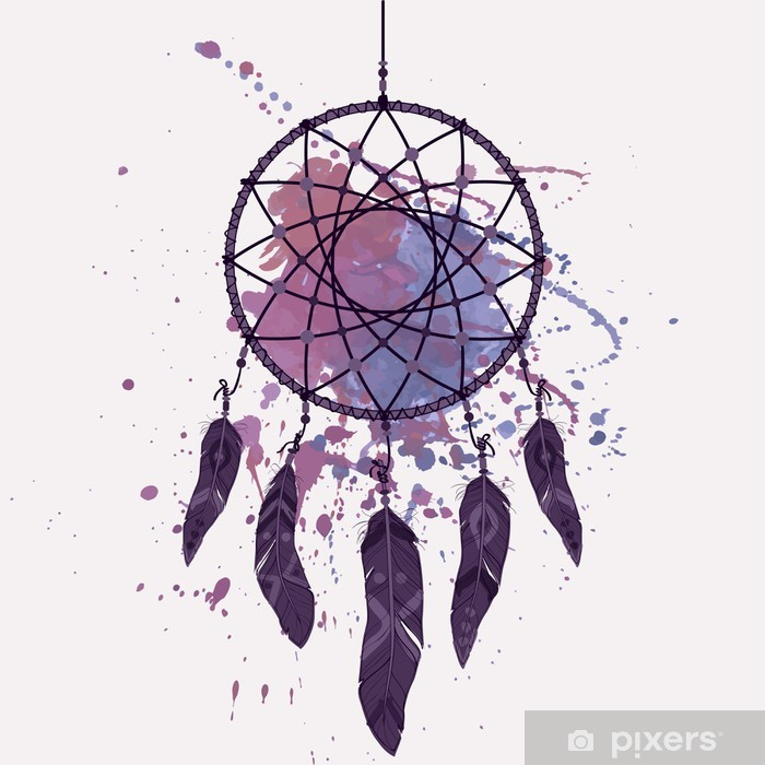Vector illustration of dream catcher with watercolor splash Vinyl Wall Mural - Themes