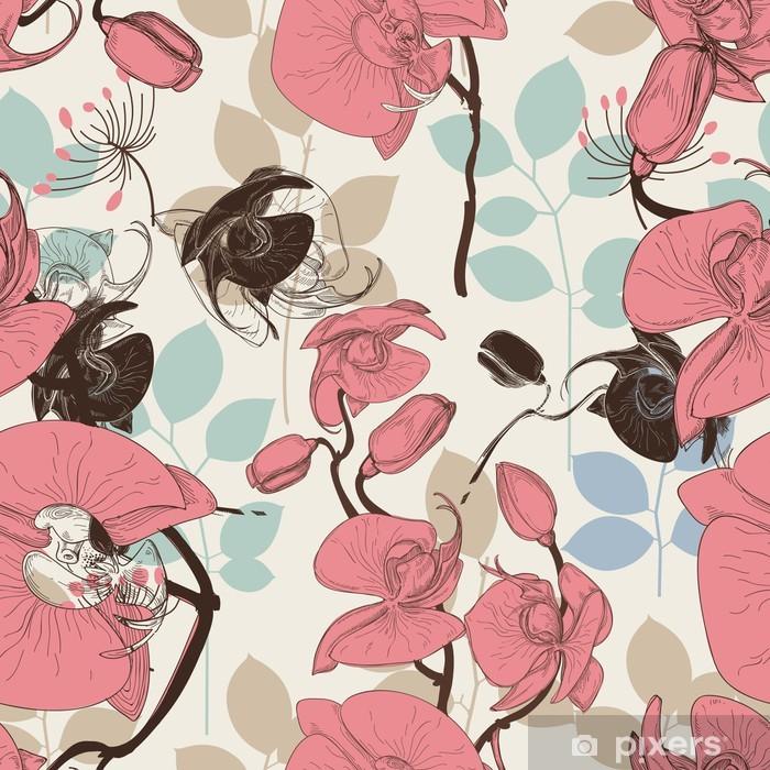 Papier peint vinyle Rétro orchidée vecteur motif de fleur - Thèmes