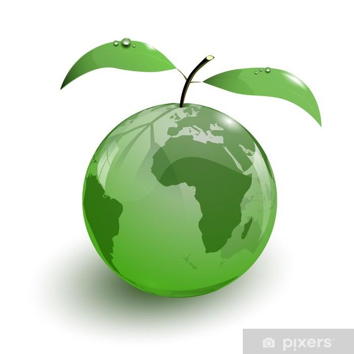 Poster Vetro frutta mela mappa della terra 3d - Segni e Simboli