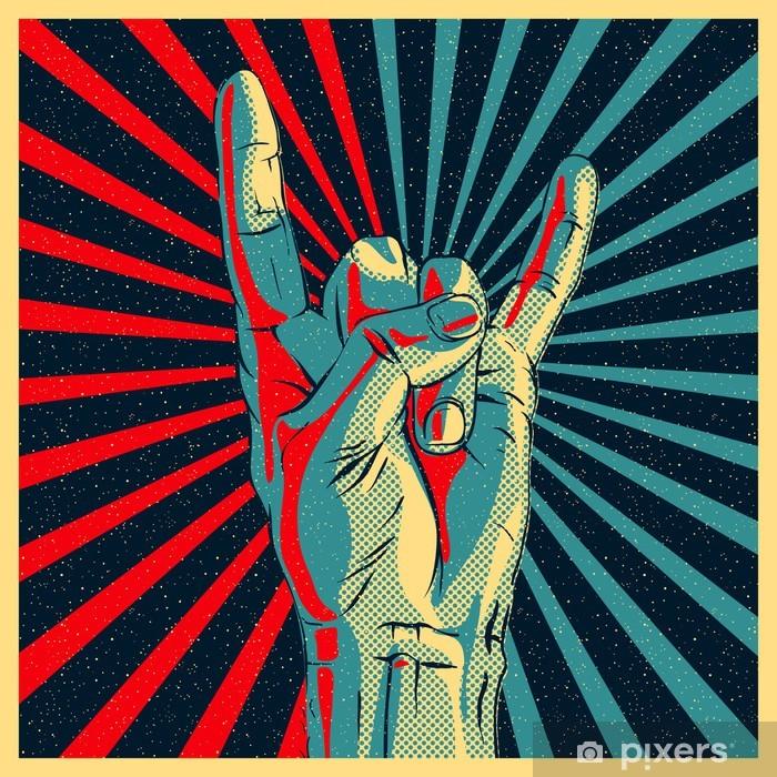 Hand in rock n roll sign, vector Eps10 illustration. Vinyl Wall Mural - Rock