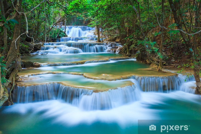 Deep forest Waterfall in Kanchanaburi, Thailand Vinyl Wall Mural - Themes