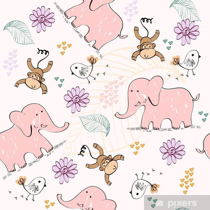 babies hand draw seamless pattern with animals Vinyl Wall Mural - Babies