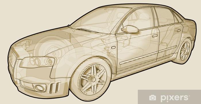 Fototapeta winylowa Perspektywa sketchy ilustracja Audi A4. - Tematy
