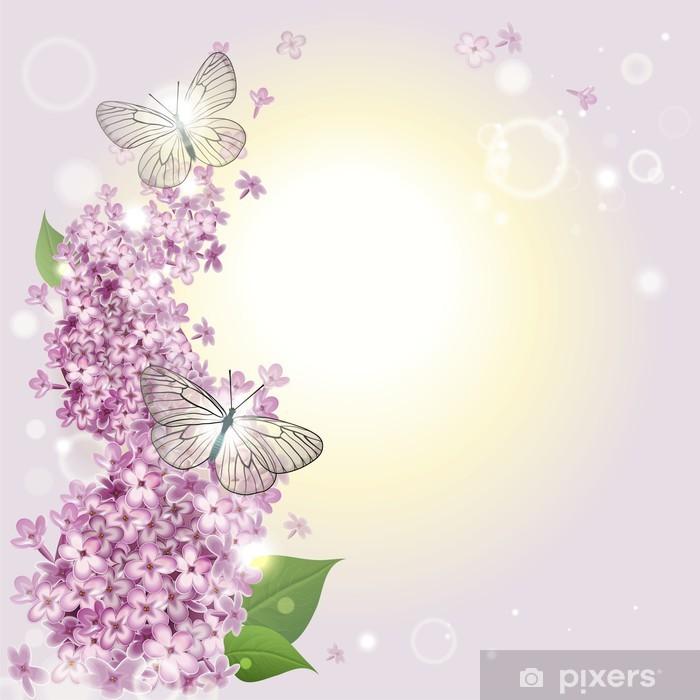 Carta Da Parati Sfondo Floreale Con Farfalle E Un Lillà Pixers