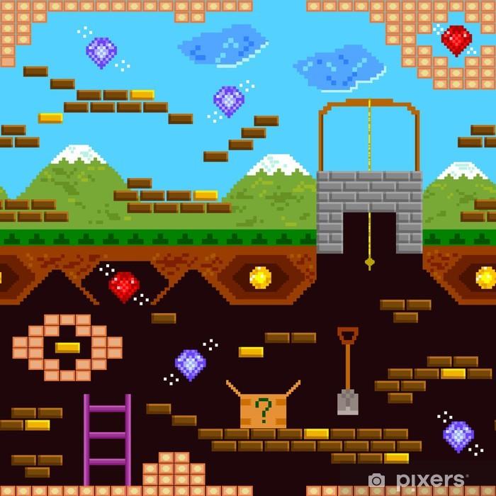 seamless pattern of retro style video game Pixerstick Sticker - Destinations