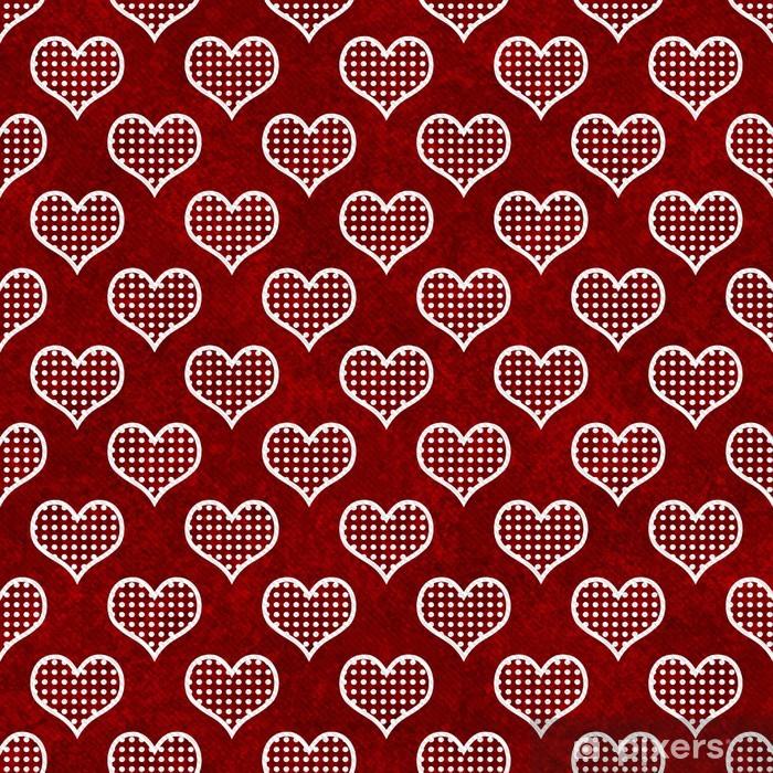 Adesivo Rosso Pois Bianchi E Cuori Giunte Di Ripetizione Di Sfondo