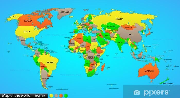 Political world map Pixerstick Sticker - Graphic Resources