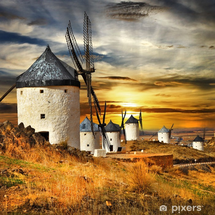 Vinyl Fotobehang Spanje, Consuegra. Windmolens op zonsondergang, - Windmolens
