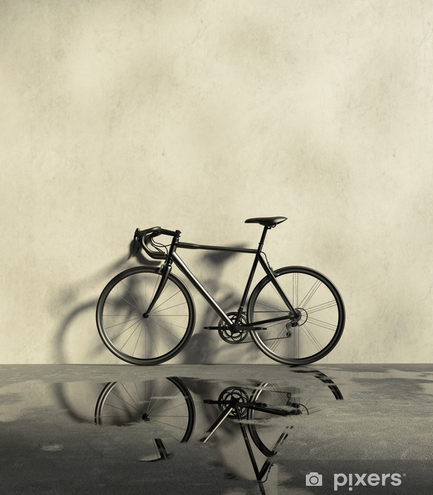 Road racing bicycle in a grungy, wet and dirt place Pixerstick Sticker - Bikes