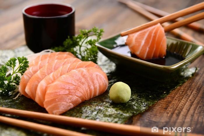 Papier peint vinyle Sashimi de saumon - Thèmes