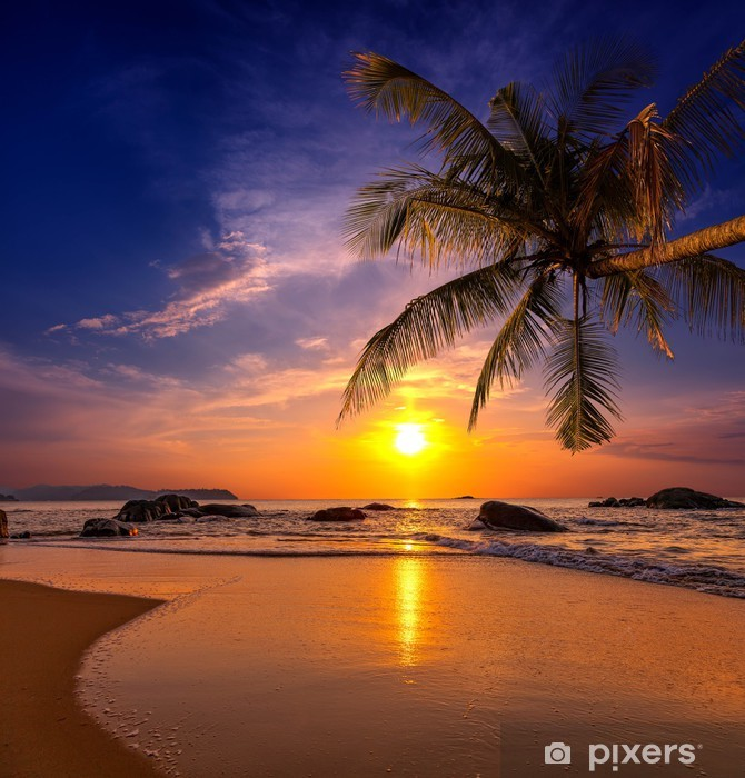 Sunset over the sea. Province Khao Lak in Thailand Pixerstick Sticker -