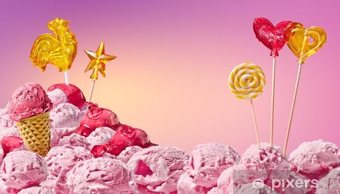 Papier peint vinyle Paysage magique douce de la crème glacée et des bonbons - Thèmes