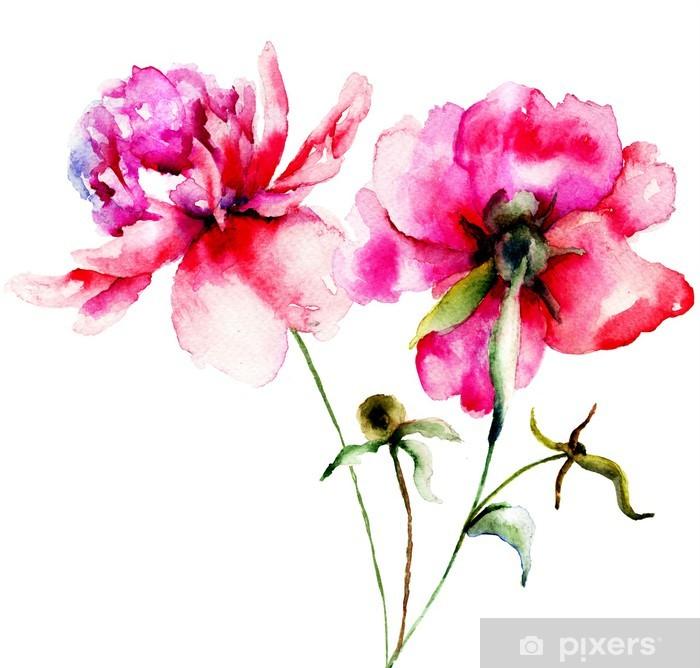 Fototapeta winylowa Czerwona piwonia kwiaty - Kwiaty