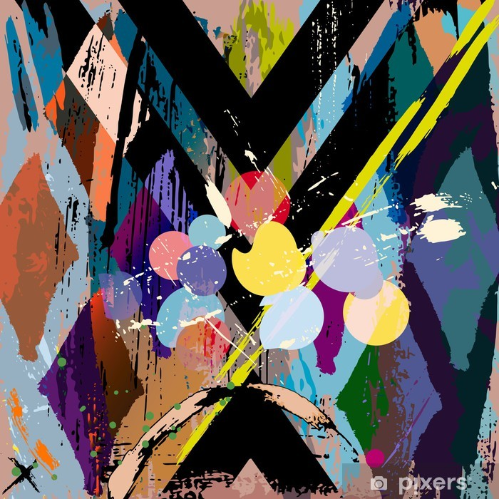 abstract background composition, with strokes, splashes and rhom Poster - Styles