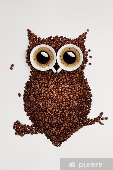 Vinilo para Nevera Café búho. -