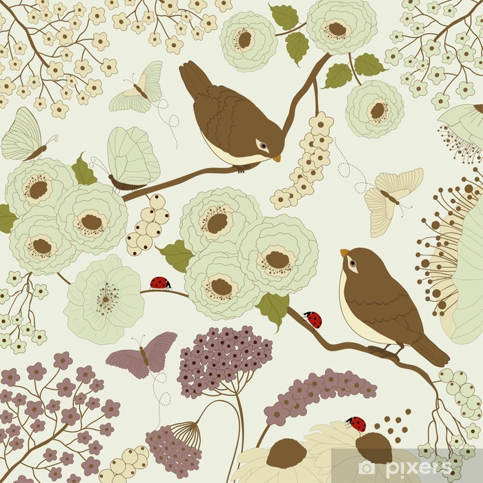 Plakat Kolorowe tło kwiatu - Ptaki