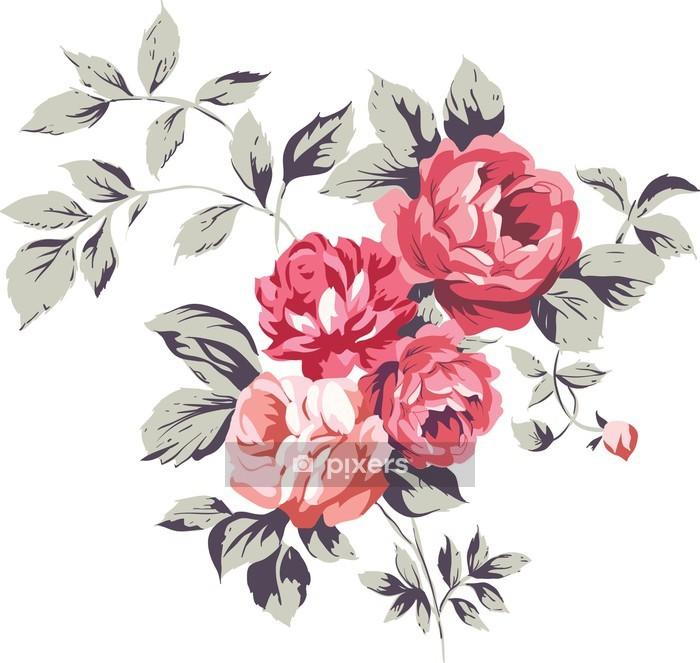 Vintage vaaleanpunaiset ruusut Seinätarra - Seinätarra