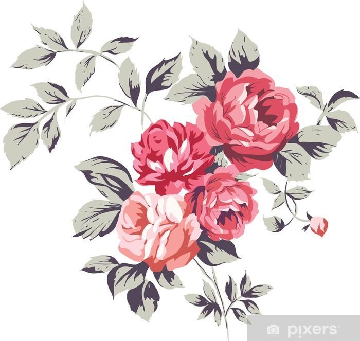 Pixerstick Sticker Vintage roze rozen - Muursticker