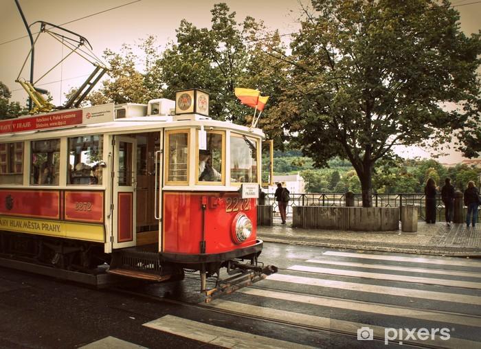Retro red tram in Prague Pixerstick Sticker - European Cities