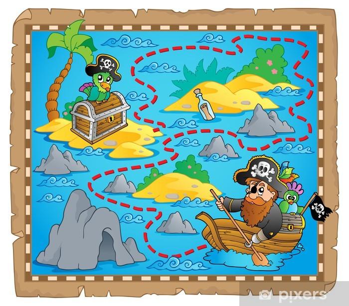 Sticker Pixerstick L'image de la carte au trésor thème 7 - Objets et accessoires