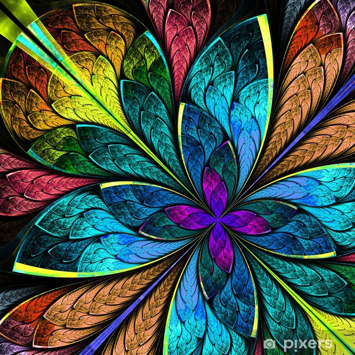 Fotomural Estándar Hermosa flor fractal multicolor. Gráficos generados por computadora - Fondos
