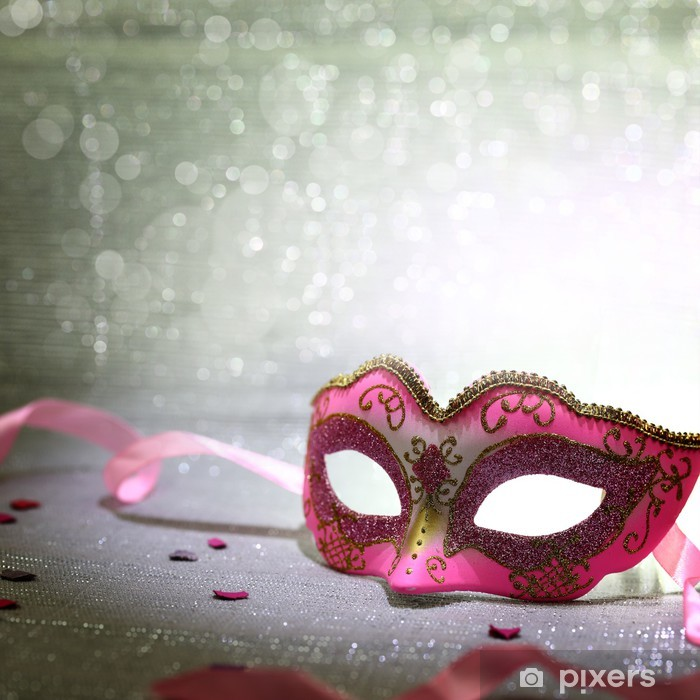 Pink carnival mask with glittering background Vinyl Wall Mural - Entertainment