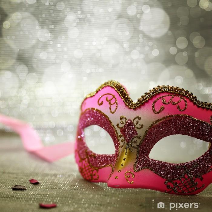 Papier peint lavable Masque de carnaval rose avec un fond scintillant - Divertissements