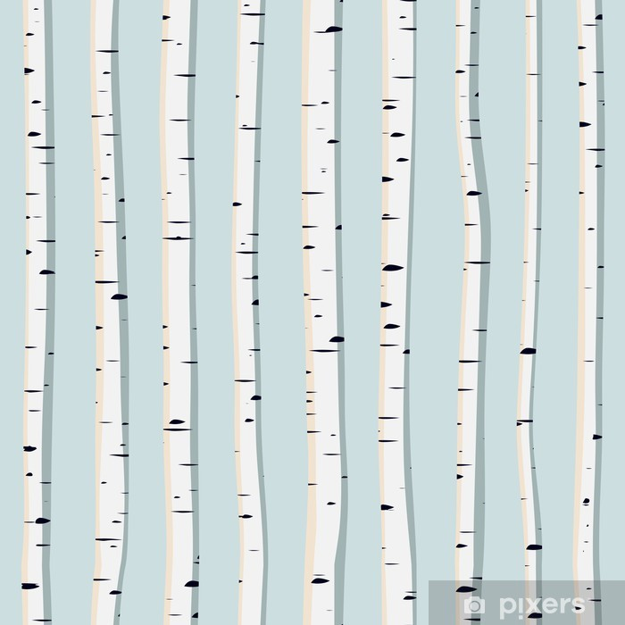 Vector seamless background of trunks birches. Vinyl Wall Mural - iStaging 2