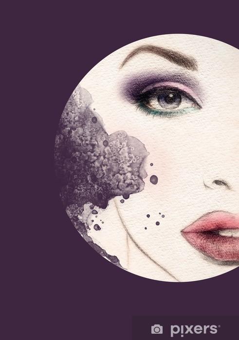 Sticker Pixerstick Beau visage de femme. illustration d'aquarelle - Thèmes