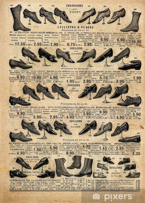 vintage victorian shoes collection. antique shop advertising Vinyl Wall Mural -