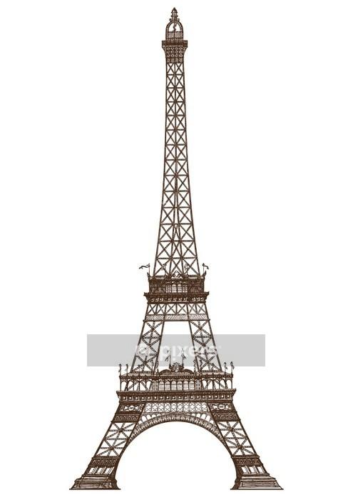 Adesivo da Parete Illustrazione dettagliata della Torre Eiffel, Parigi - Città europee