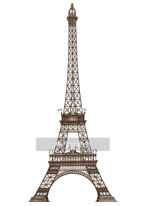 detailed illustration of the Eiffel Tower, Paris Wall Decal - European Cities