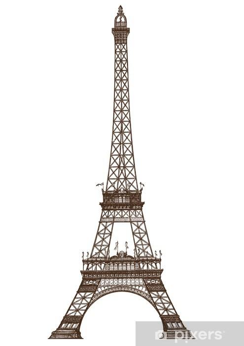 Fototapeta winylowa Szczegółowych ilustracji Wieża Eiffla, Paryż - Miasta europejskie