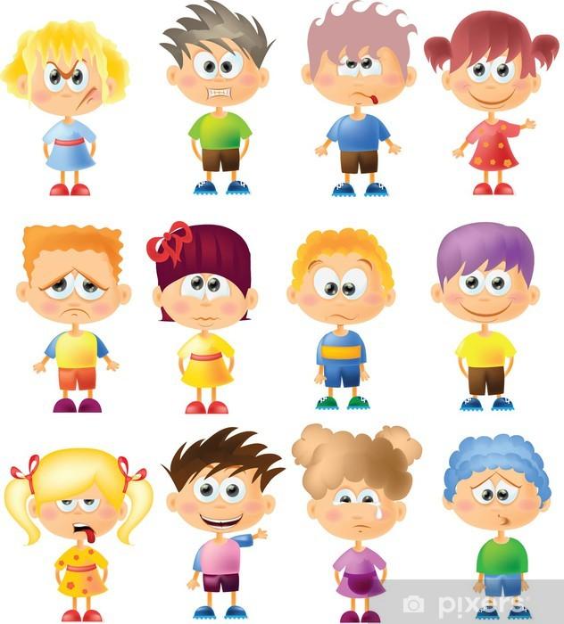 Fotomural Los Niños Lindos Dibujos Animados Con Diferentes Emociones