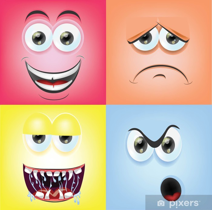 Мультфильм лица с эмоциями Poster - Happiness