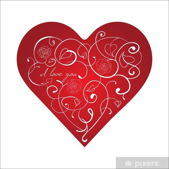 Naklejka Pixerstick Czerwone serce z białym ornamentem z róż. Walentynki karty - Święta międzynarodowe