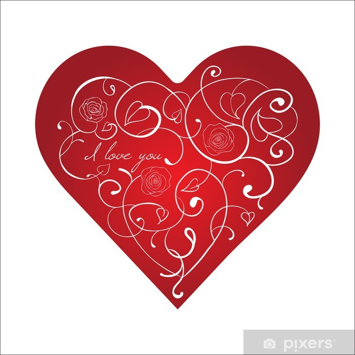 Vinilo Pixerstick Corazón rojo con el ornamento blanco con rosas. Tarjetas de San Valentín - Celebraciones internacionales