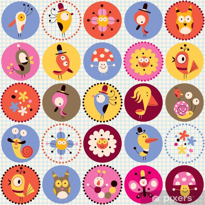 cute characters pattern Vinyl Wall Mural - Other Other