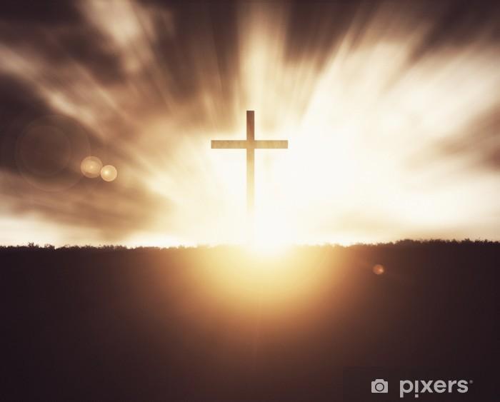 Naklejka Pixerstick Krzyż na zachodzie słońca - Religia i kultura