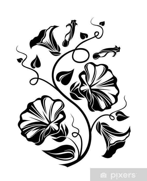 Vinilo Silueta Negro Enredadera Ilustración Del Vector Pixerstick