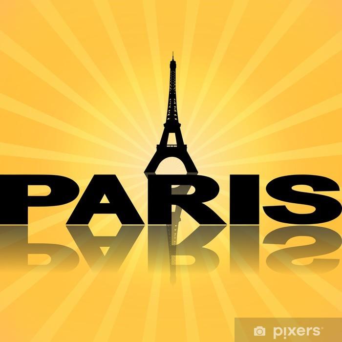 Fototapeta winylowa Wieża Eiffla w Paryżu odzwierciedlenie ilustracji Sunburst -