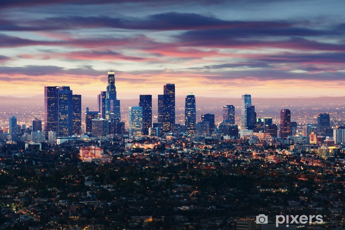 City of Los Angeles California at sunset with light trails Pixerstick Sticker -