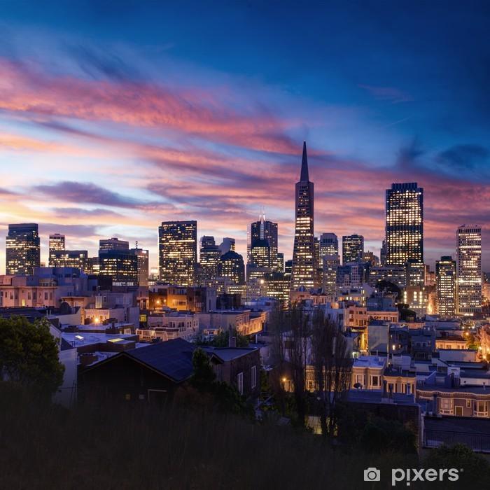 Naklejka Pixerstick Skyline San Francisco i Bay Bridge o zachodzie słońca, california - Tematy