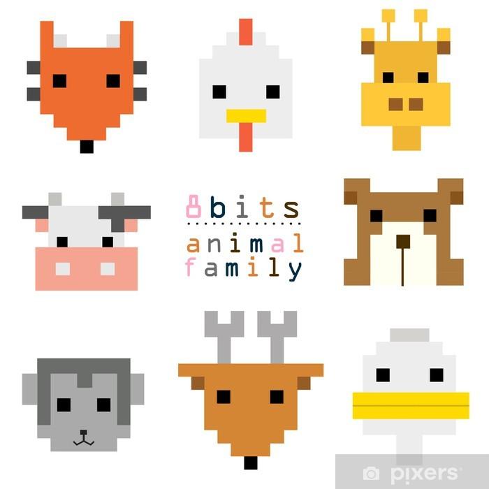 Sticker Tête Pixel Art Animal Pixerstick