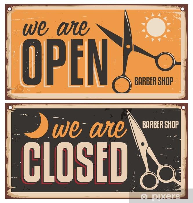 Retro door signs for barber shop Pixerstick Sticker - Sales