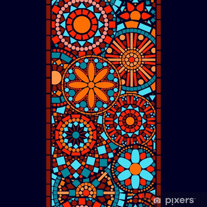 colorful circle flower mandalas seamless border in blue orange